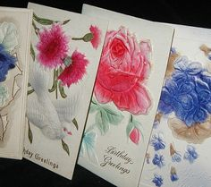 old postcards, floral greetings