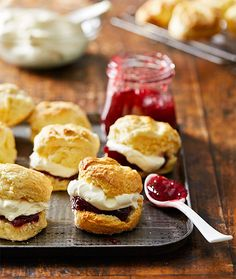 Rich scones with jam and cream