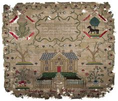 Dated 1784, this piece was embroidered by Jeannie Mitchell. Collection of the Linlithgow Heritage Trust.