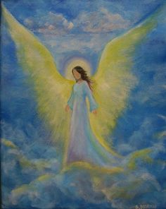 Original Acrylic Painting Healing Energy Angel x by BrydenArt Pictures To Paint, Art Pictures, Angel Artwork, Angel Paintings, Angel Drawing, I Believe In Angels, Angeles, Angel Pictures, Beginner Painting
