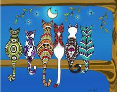 "Pop Art Zentangle Cats Lovers Moon Color"" Posters by wildwildwest . Pop Art Drawing, Cat Drawing, Zen Doodle, Doodle Art, Tableau Pop Art, Silkscreen, Frida Art, Cat Quilt, Whimsical Art"
