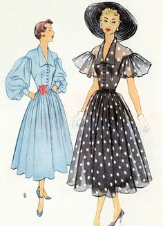 1950s Beautiful Party Special Occasion Dress Pattern McCALL 8078 Full Bishop or Flutter Sleeves Perfect For Sheer Fabrics Bust 34 Vintage Sewing Pattern FACTORY FOLDED