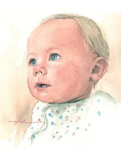 baby on a blanket - watercolor portrait by watercolor artist mike theuer
