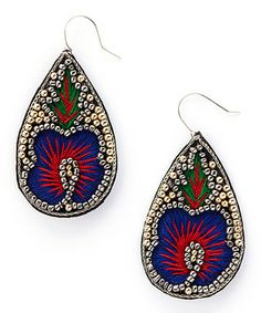 Gold   Red Bead Embroidered Teardrop Earrings Boucle D oreille, Boucles,  Oreilles, 9b4e8806ee0