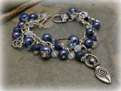 Triquetra Goddess Lapis Lazuli chunky charm by WiseWomanCollective, $18.99