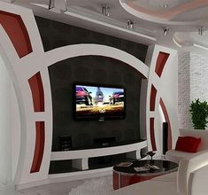 Tv wall furniture beautiful pop ceiling design with wall stand spot light in furniture luxury interiors . House Arch Design, Front Wall Design, Tv Wall Design, Design Case, Living Room Partition Design, Living Room Tv Unit Designs, Ceiling Design Living Room, Tv Wall Furniture, Home Decor Furniture
