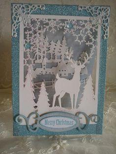 carte à poser Merry Christmas Cottage Cutz