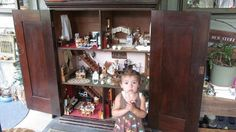Antique Doll House Grannies Secret Cupboard  WHAT IS INSIDE Dollhouse Furniture