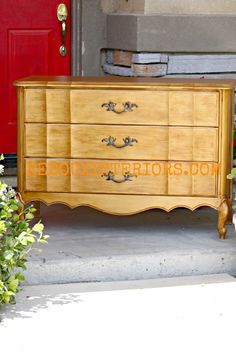 French Dresser with Matte Gold Rush Metallic Paint