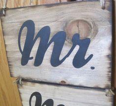 Rustic Wedding Mr Mrs Bride Groom Chair Sign by dlightfuldesigns, $16.00