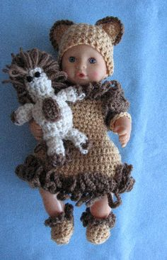 12-inch Baby Doll Lion Dress, Hat, Shoes & Toy Lion Free Crochet Pattern