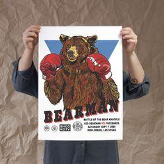 Boxing Bear exclusive artwork by Luke Dixon for The BearHug Co. Artwork Prints, Framed Prints, White Velvet, Limited Edition Prints, All Print, Graphic Prints, Fine Art Paper, Boxing