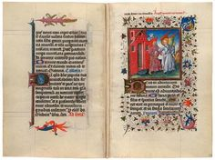 """Created in Utrecht, The Netherlands, around 1440, the manuscript was taken apart sometime before 1856. Its leaves were shuffled and then rebound into two volumes to make each look more or less complete. The first part was acquired by the duke of Arenberg, whose descendants owned it until 1957, when it was bought by New York dealer H. P. Kraus, who sold it to Alistair Bradley Martin. This volume had been known by scholars as the """"Hours of Catherine of Cleves."""""""