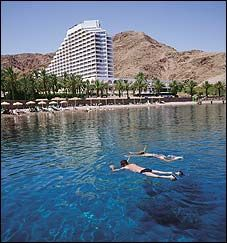 A view of the Red Sea towards the Eilat Beach..