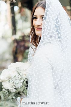 A polka dotted veil is a fun way to infuse a touch of retro flair to your bridal ensemble, as evidenced by this beauty's Etsy accessory. #weddingideas #wedding #marthstewartwedding #weddingplanning #weddingchecklist Mullet Wedding Dresses, Chapel Length Veil, Vintage Veils, Amazing Wedding Dress, Wedding Veils, Wedding Shoes, Wedding Stuff, Wedding Flowers, Nontraditional Wedding