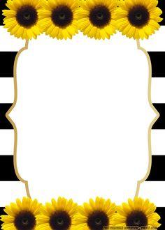 Sunflower Birthday Parties, Sunflower Party, Sunflower Baby Showers, Baby Shower Flowers, Free Printable Birthday Invitations, Baby Shower Invitation Templates, Disney Invitations, Sunflower Template, Sunflower Wedding Decorations