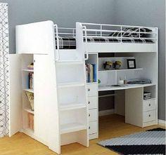 NEPTUNE SINGLE CABIN BUNK BED LOFT DESK BOOKCASE CUPBOARD WHITE