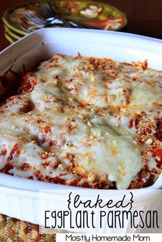 Baked Eggplant Parmesan - Breaded eggplant slices layered with cheese an an amazing homemade skillet tomato sauce! Baked Eggplant, Eggplant Parmesan, Eggplant Recipes, Vegetable Recipes, Vegetarian Recipes, Cooking Recipes, Crepes, Homemade Sauce, Ravioli
