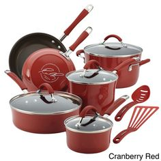 Create numerous delectable meals and countless cherished memories with the Rachael Ray Cucina Hard-Anodized Nonstick Cookware Set. These durable pots and pans from Rachael Ray are constructed from hard anodized aluminum and feature nonstic Rachel Ray, Rachael Ray Cookware Set, Enamel Cookware, Burnt Food, Pots And Pans Sets, Pan Set, Glass Ceramic, Bakeware, Kitchen Gadgets