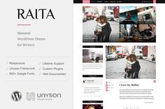 Raita - Minimal Theme For Writers ~ WordPress Blog Themes on Creative Market -- I just downloaded this theme & it is so Pretty !  AND FREE for just a few days !  Gato April 2016