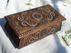 Jewelry box Wooden box Ring box Carved wood box by HappyFlying,