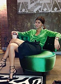 """Equipment shirt and a dark green Lanvin skirt.  Gio confesses: """"Okay, I want to have one of those portraits with a drink, like an old-school New York lady."""" Hmm."""