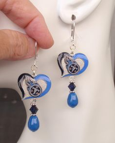 Tennessee Titans Earrings, Titans Bling, Blue Pearl, Navy and Clear Crystal…