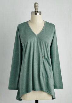 Sweet Staycation Top. Curling onto your favorite chair in this heather spearmint top, youre ready for the relaxing day ahead. #green #modcloth