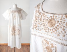 Vintage Mexican Dress | 70s Dress Embroidered Festival Dress Oaxacan Cotton Ethnic Summer Dress Boho Chic Peasant Dress Gypsy Hippie Dress by BlueHorizonVintage on Etsy