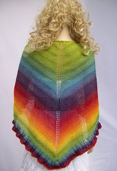 Piece of the rainbow knitted shawl by dosiak on Etsy