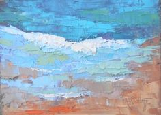 Daily Painting, Small Oil Painting, Small Seascape, Celebrating Blue by Carol Schiff, 6x8 Oil, painting by artist Carol Schiff