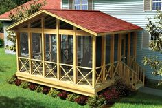 Project Plan 90008 Covered Screen Porch - This simply designed gable roof screened-in porch plan provides a shaded, insect-free place to relax and entertain outdoors. Better for a 2 story home