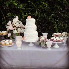Ruffle cake with cupcakes and milk glass. Wedding venue: The Muckenthaler Mansion.