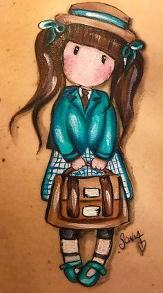 Cartoon Pics, Cartoon Drawings, Cute Cartoon, Cute Drawings, Doll Drawing, Painting & Drawing, Cute Images, Cute Pictures, Santoro London