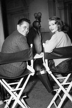 Glenn Ford and Rita Hayworth on the set of 'Affair In Trinidad', 1952.