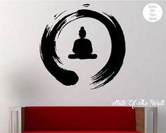 Cercle Zen avec Bouddha Sticker vinyle autocollant Art Decor