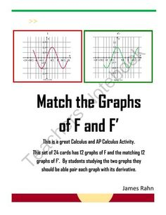 Match the Graphs of F and the Derivative of F  from jamesrahn on TeachersNotebook.com -  (8 pages)  - Are you looking for an activity that will help your students read information from the graph of F ' to create the graph of F or read information from the graph of F to create the graph of F '. These 24 cards can be used as a class and/or individ