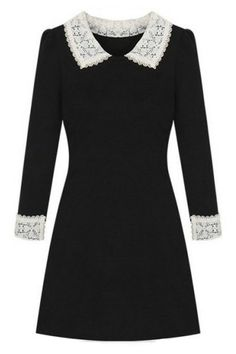 ROMWE | Lapels Lace Panel Black Slim Dress, The Latest Street Fashion #RomwePartyDress