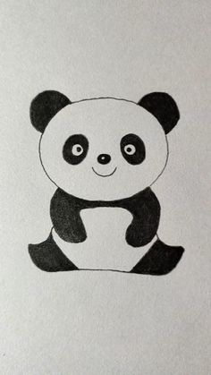 Easy Cartoon Drawings, Easy Disney Drawings, Cute Little Drawings, Cute Easy Drawings, Art Drawings For Kids, Art Drawings Sketches Simple, Animal Drawings, Cute Panda Drawing, Kitty Drawing