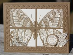 handade greeting card from Debbi's Design Stamping: Butterfly Tile ...monochromatic browns ... huge stamped Swallowtail stamped off the edges and then cut into four smaller paners ... mounted on embossing folder tulip frame ... Stampin' Up!