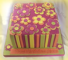 Funky Flowers Birthday Cake! on Cake Central