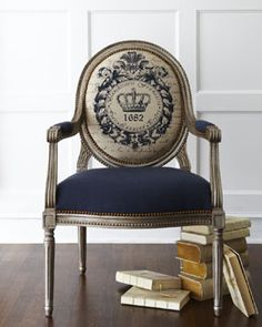 """Bring a touch of regal french blue  styling into today's home with H5ZDV Massoud """"Antiquity"""" Chair ."""