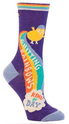 """Fun and funky ultra soft socks by Blue Q. Purple and bright colors """"Shitting Rainbows Kind of Day"""" women's crew socks. of Blue Q's sale of these socks benefit Doctors Without Borders. Crazy Socks, My Socks, Blue Q Socks, Purple Socks, Rainbow Socks, Rainbow Vomit, Funny Gifts For Men, Thing 1, Shopping"""