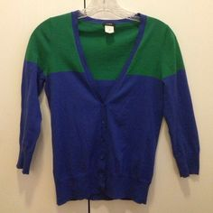 J. Crew V-Neck Colorblock Cardigan Blue and green colorblock cardigan with a v-neck and 3/4 length sleeves. 100% cotton. Excellent condition, like new - only worn less than a handful of times. J. Crew Sweaters Cardigans