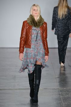 The complete Nicole Miller Fall 2018 Ready-to-Wear fashion show now on Vogue Runway.  BROWN LEATHER - LONG DRESS WITH OVER THE KNEE BOOTS