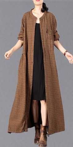 Casual Cotton Linen Plaid Long Coat Women Loose Outfits - Women's style: Patterns of sustainability Mini Hot Dogs, Muslim Fashion, Hijab Fashion, Fashion Dresses, Stylish Outfits For Women Over 50, African Dashiki Dress, Travel Clothes Women, Linen Dresses, Blazer