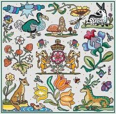 Long Dog Samplers Beautie Spotte - Cross Stitch Pattern. Model stitched on 18 Ct. Silver Lurex Aida (or fabric of your choice) with  Gentle Arts threads (DMC c