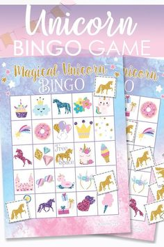 Cute and magical Unicorn bingo in a rainbow of colors and printed glitter. Click image to read all the details. Girls Birthday Party Games, Bridal Party Games, Unicorn Themed Birthday Party, Holiday Party Games, Halloween Party Games, 8th Birthday, Diy Party Crafts, Craft Party, Rainbow Unicorn Party