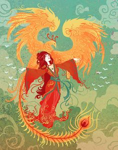 Goddess of the Phoenix art print by theGorgonist on Etsy Character Concept, Character Art, Character Design, Art And Illustration, Phoenix Art, Art Design, Fairy Tales, Sketches, Animation
