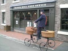Colin Bedford riding his Hen & Chicks outside the Blists Hill Post Office Victorian Street, English Village, Street Furniture, English Countryside, Post Office, Going Postal, Letter Writing, Facades, Royal Mail